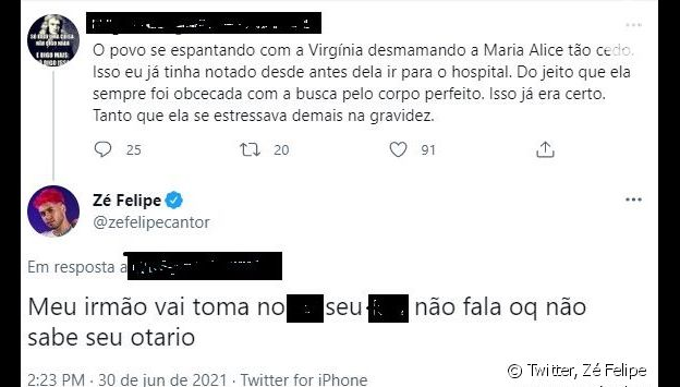 Zé Felipe responde critíca de seguidor à Virgínia Fonseca