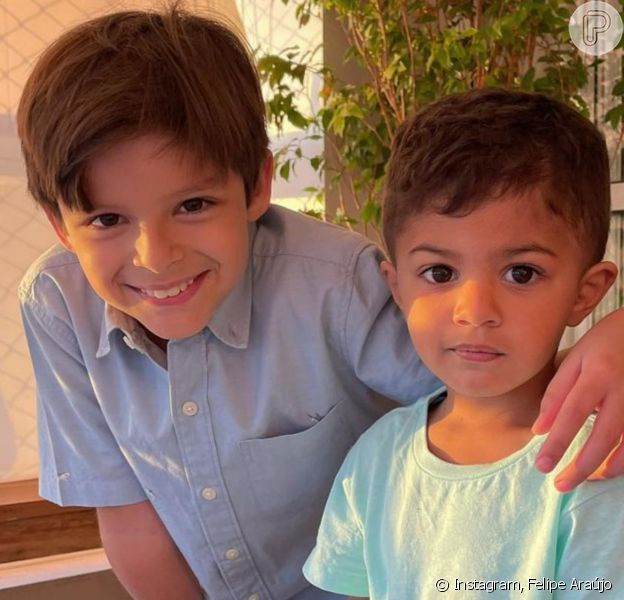 Felipe Araújo nota semelhança de sobrinho com o irmão, Cristiano Araújo: 'Cópias'