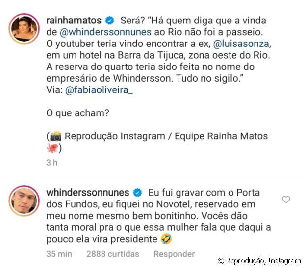 Whindersson Nunes se pronunciou sobre suposto encontro às escondidas com ex Luísa Sonza