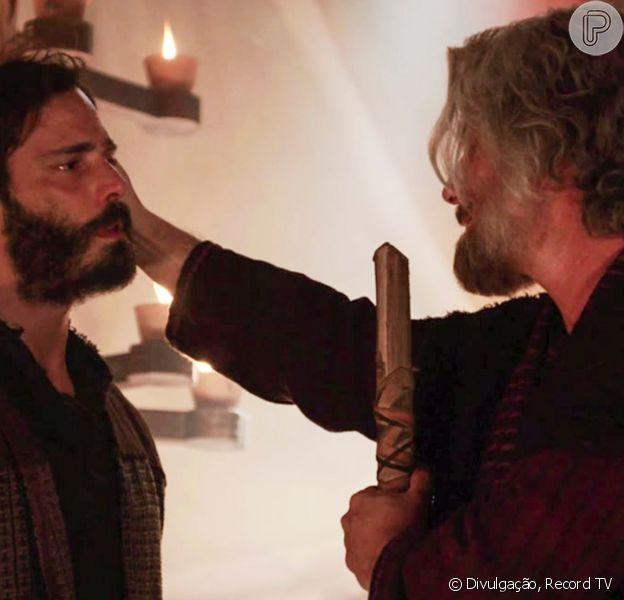 Novela 'Gênesis': Jacó (Petronio Gontijo) reencontra o filho Judá (Thiago Rodrigues) no capítulo de sexta-feira, 24 de setembro de 2021