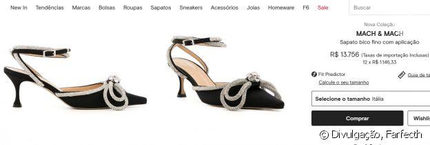Sapato usado por Marília Mendonça é da grife Mach & Mach e está disponível pelo valor de R$ 13.756 no site da multimarcas Farfecth