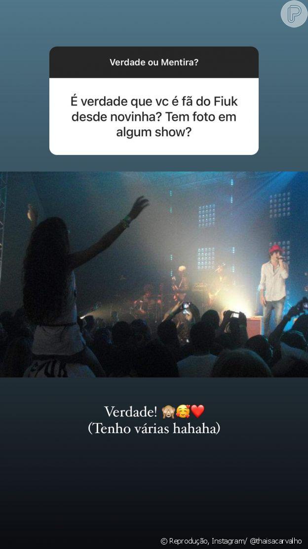 Thaisa Carvalho mostrou uma foto adolescente em um show de Fiuk