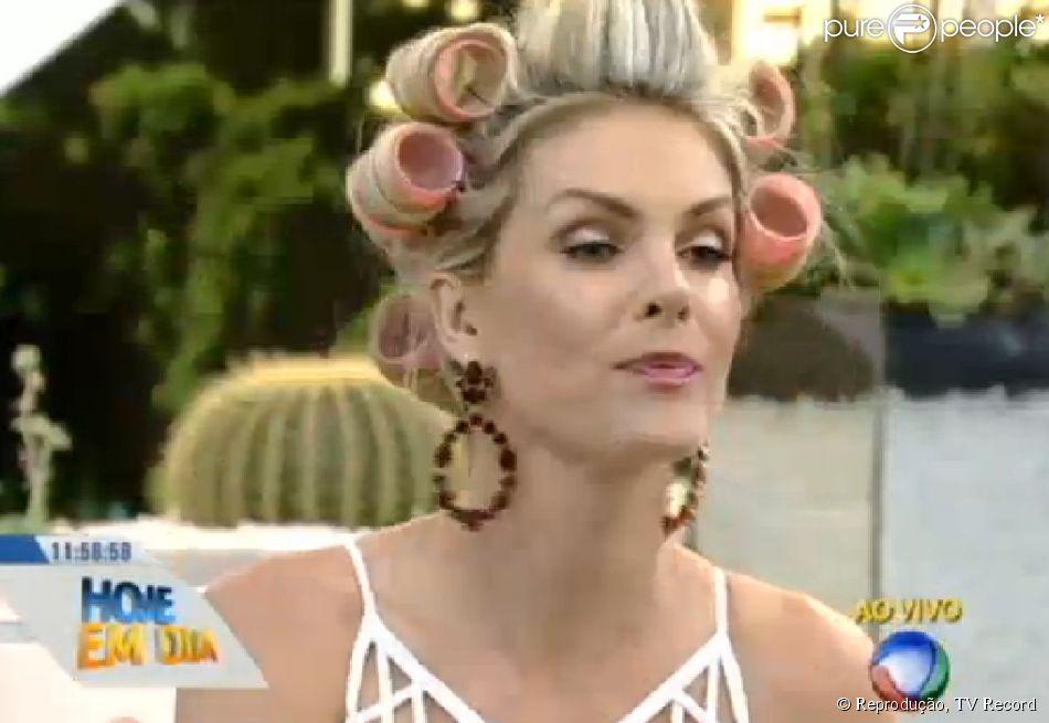 Ana Hickmann dá dicas de cabelo e usa bobes para apresentar o  Hoje ... 805b531ecf