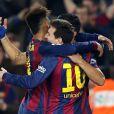 Neymar comemorou com Lionel Messi o gol marcado pelo argentino