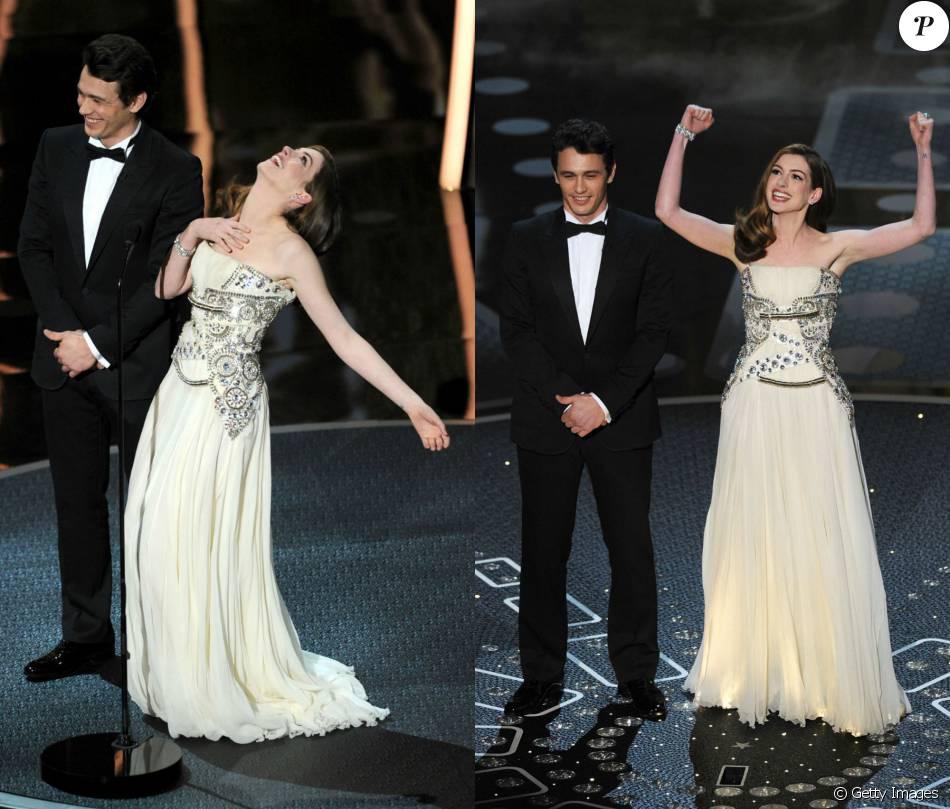 Anne Hathaway e James Franco bem que tentaram, mas o jeito tímido do ator  não combinou com a euforia da diva, exagerada em alguns momentos. 6add4bb8f3