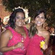 A promoter carol Sampaio estava entre os convidados da festa de casamento de Thiaguinho e Fernanda Souza