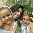 A jornalista Rosane Jatobá é mãe dos gêmeos Lara e Benjamin, de 4 anos