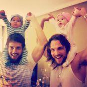Rafael Cardoso e Igor Rickli posam com filhos um do outro: 'Compartilhando amor'