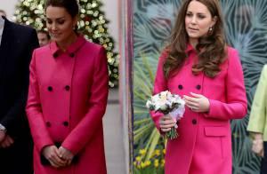 Kate Middleton repete look rosa em último evento oficial antes de dar à luz