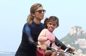 Grazi Massafera curte passeio de bicicleta com a filha, Sofia, em orla do Rio