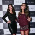 Bruna Marquezine e Sabrina Sato se encontraram em lançamento da grife Le Lis Blanc, em São Paulo, na noite desta quinta-feira, 28 de maio de 2015