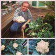 O apresentador posa na horta plantada na casa onde mora. Ele gosta de compartilhar momentos pessoais com os seguidores do Instagram