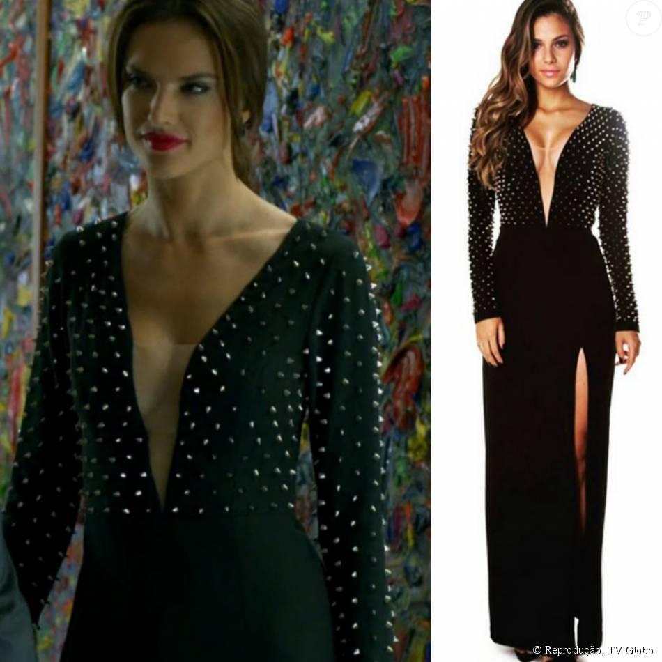 df508327286d7 O vestido Kara da marca La Ví de R  940,45 foi usado por Sâmia (Alessandra  Ambrósio) combinado com brincos Carla Amorim