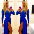 Com superfenda, Aline  Gotschalg usa vestido zul e ganha quase 65 mil curtidas na foto postada em seu Instagram