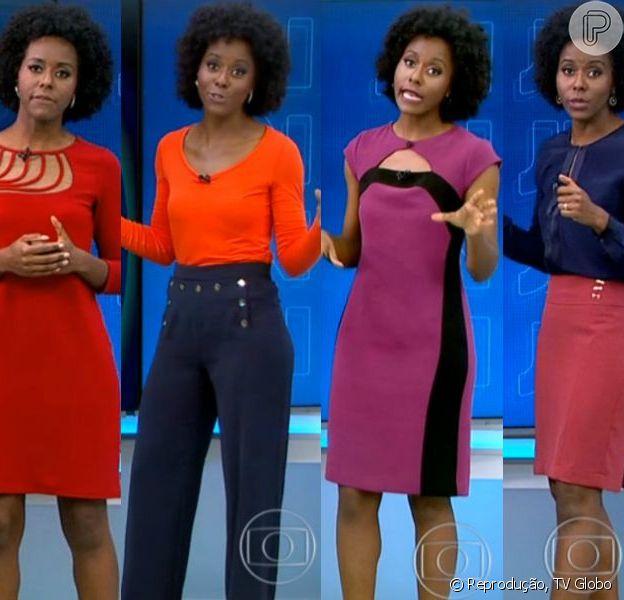 A jornalista Maria Júlia Coutinho, a Maju do 'Jornal Nacional', chama atenção pelas roupas coloridas e cheias de personalidade