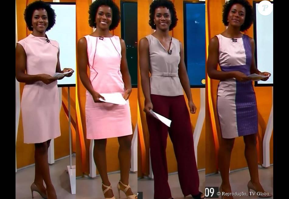 Os tons mais fechados e clarinhos de rosa também fazem parte do figurino da  jornalista (o segundo vestido é da marca Gregory e está à venda por R   415 ac83828375144