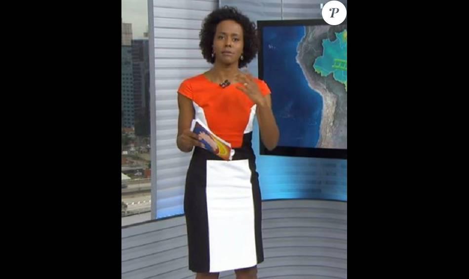 fc5d96105 O vestido tricolor da MSP Collection (R$ 99,90) cheio de recortes foi usado  por Maju no 'Bom Dia Brasil'