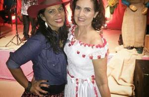 Fátima Bernardes usa fantasia de noiva caipira em festa julina. Veja fotos!