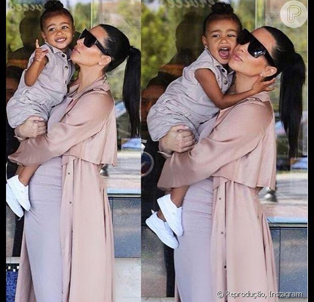 Kim Kardashian contratou personal trainer para cuidar da filha, North West, de 2 anos, de acordo com o site 'Radar On line'