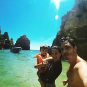 Thiago Rodrigues viaja de férias com a mulher, Cris Dias, e o filho: 'Alegria'