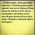 Alexandre Pato escreve nesta sexta-feira, 2 de agosto de 2013, uma mensagem agradecendo aos fãs pela suporte na morte de seu avô