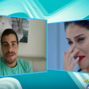Paloma Bernardi chora ao ouvir declaração de Thiago Martins na TV: 'Grande fã'
