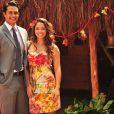 Raphael Viana e Gisele Alves no bastidores da novela 'Flor do Caribe'