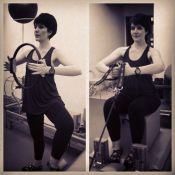 Larissa Maciel, grávida de quatro meses, faz pilates e diz: 'Firme e forte'
