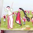 A mulher do desenho de Yhudy aparece de cabelo preto e fãs apostaram que seria Mileide, a ex-mulher do cantor e mãe do menino