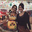 Fátima Bernardes posa com figurino junino no arraiá do 'Ecncontro'
