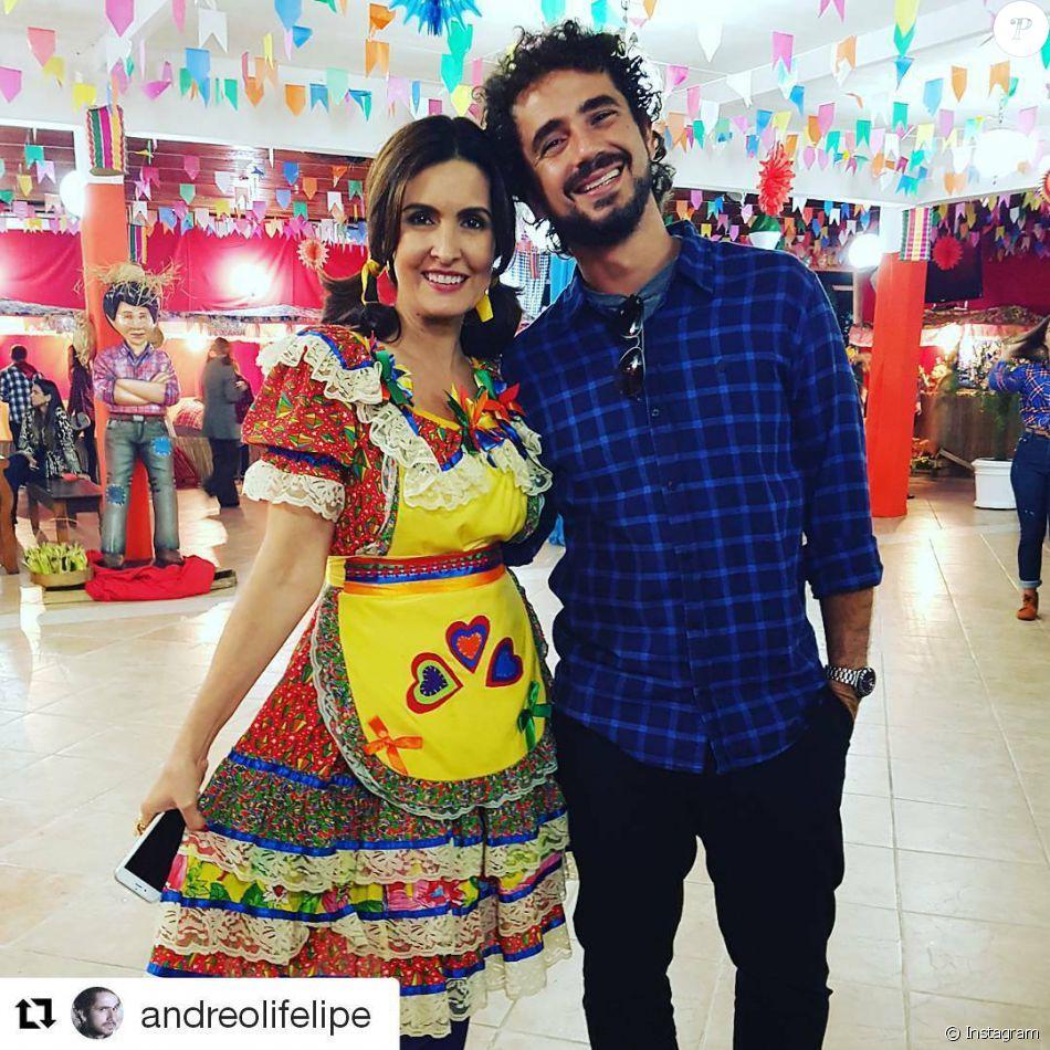 Fátima Bernardes se veste de caipira em festa junina com equipe do 'Encontro com Fátima Bernardes' nesta sexta-feira (8)