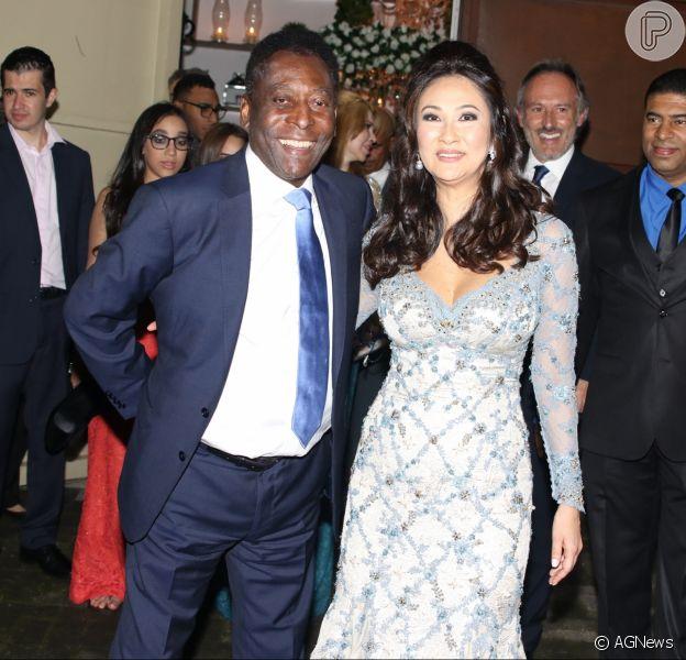 Pelé se casou com a empresária Marcia Cibele Aoki, na noite de sábado, 9 de julho de 2016