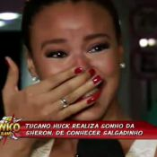 Sheron Menezzes chora ao conhecer Salgadinho, do Katinguelê: 'Estou tremendo'