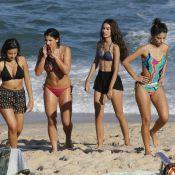 Giulia Costa e Marina Moschen gravam 'Malhação' de biquíni na praia. Fotos!