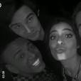 Nego do Borel posa com colegas de elenco de 'Malhação' Nicolas Prattes, Cynthia Senek e Bruno Montaleone em sua festa de aniversário