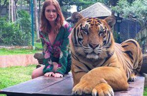 Marina Ruy Barbosa rebate críticas após fotos com tigre: 'Não são dopados!'