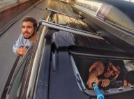 Caio Castro viaja em carrão com chuveiro e geladeira dos EUA para o Brasil