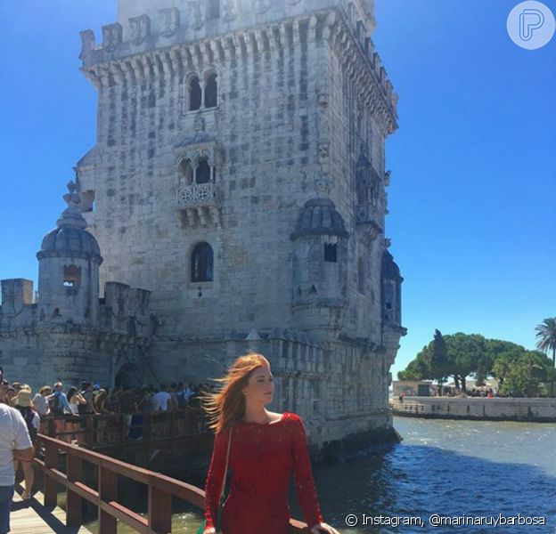 Marina Ruy Barbosa conheceu a Torre de Belém, um dos pontos turísticos mais conhecidos de Lisboa, na manhã desta quinta-feira, 21 de julho de 2016