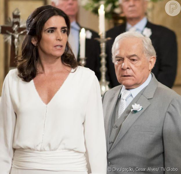 Rebeca (Malu Mader) não consegue se casar porque Pedro Bertolucci (Othon Bastos) recebe voz de prisão antes de dizer 'sim' na cerimônia, em cenas da novela 'Haja Coração' previstas para irem ao ar a partir de 28 de julho de 2016