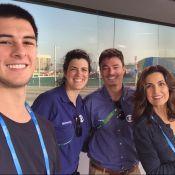 Fátima Bernardes visita Parque Olímpico com filho Vinícius: 'Um dos voluntários'