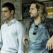 Cauã Reymond grava cenas de 'Justiça' com Vladimir Brichta em praia do RJ. Fotos