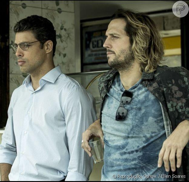 Cauã Reymond e Vladimir Brichta gravaram cenas de 'Justiça' na praia nesta quinta-feira, 28 de julho de 2016