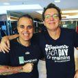 Boninho também aderiu aos exerícios físicos com o personal trainer Claudio Castilho Baiano
