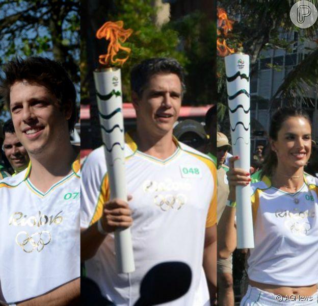 Fabio Porchat, Marcio Garcia e Alessandra Ambrosio carregaram a tocha olímpica no dia da abertura dos Jogos Olímpicos no Rio de Janeiro nesta sexta-feira, dia 05 de agosto de 2016