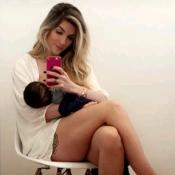 Ex-BBB Aline Gotschalg mostra boa forma ao posar com filho no colo: 'Eu e ele'