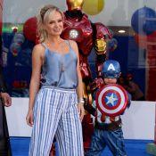 Filho de Eliana chega vestido de super-herói ao seu aniversário de 5 anos