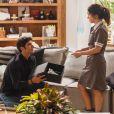 Felipe (Marcos Pitombo) diz que Shirlei (Sabrina Petraglia) não deve trabalhar mais como sua empregada doméstica, na novela 'Haja Coração'