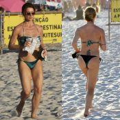 Leticia Spiller, de biquíni, exibe boa forma ao correr na praia da Barra. Fotos!