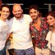 João Baldasserini, Gabriel Godoy e Julianne Trevisol se encontraram em festa