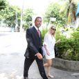 A atriz foi clicada chegando à 14ª Delegacia de Polícia, no Leblon, na Zona Sul do Rio de Janeiro